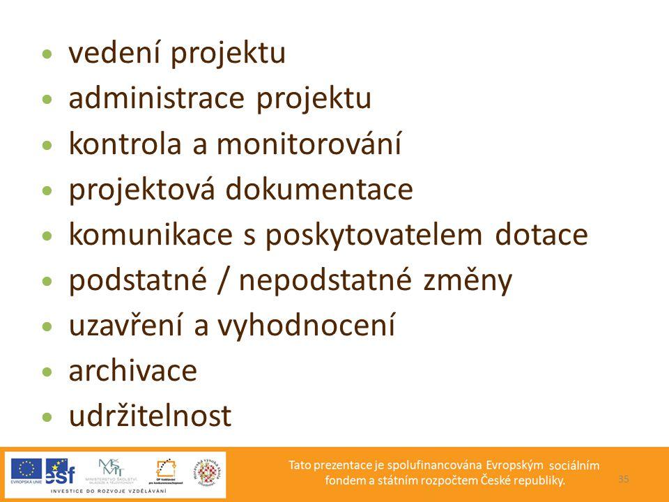 administrace projektu kontrola a monitorování projektová dokumentace