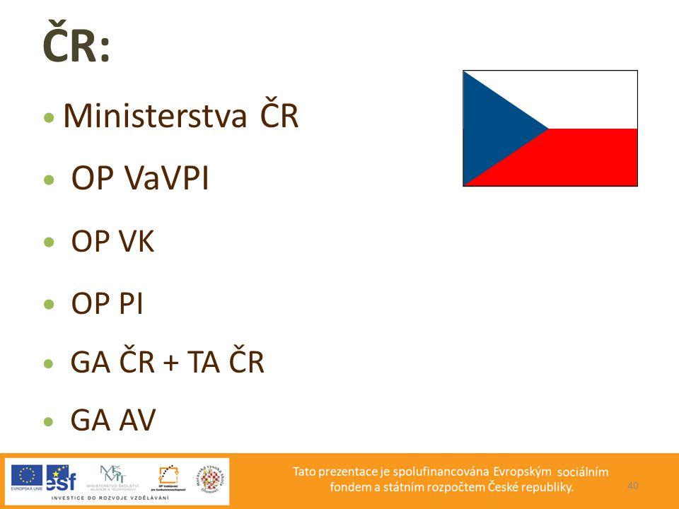 PROJEKT ČR: Ministerstva ČR OP VaVPI OP VK OP PI GA ČR + TA ČR GA AV