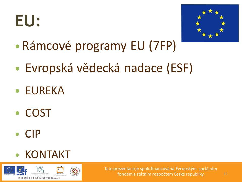 EU: Rámcové programy EU (7FP) Evropská vědecká nadace (ESF) EUREKA