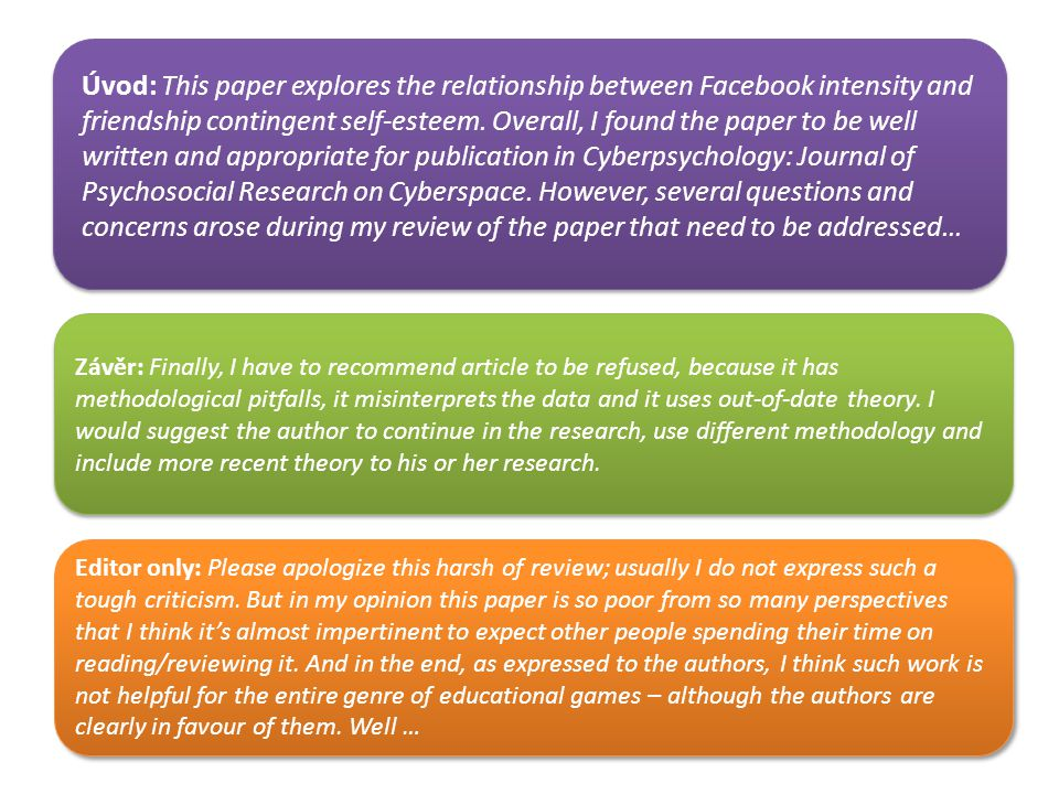 Úvod: This paper explores the relationship between Facebook intensity and friendship contingent self-esteem. Overall, I found the paper to be well written and appropriate for publication in Cyberpsychology: Journal of Psychosocial Research on Cyberspace. However, several questions and concerns arose during my review of the paper that need to be addressed…