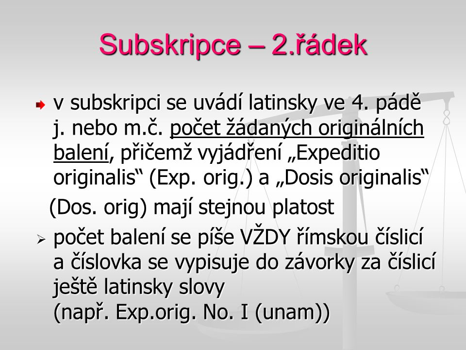 Subskripce – 2.řádek