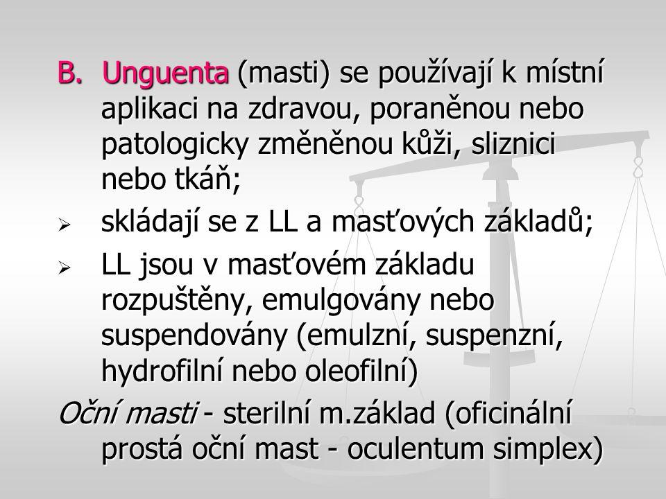 B. Unguenta (masti) se používají k místní aplikaci na zdravou, poraněnou nebo patologicky změněnou kůži, sliznici nebo tkáň;