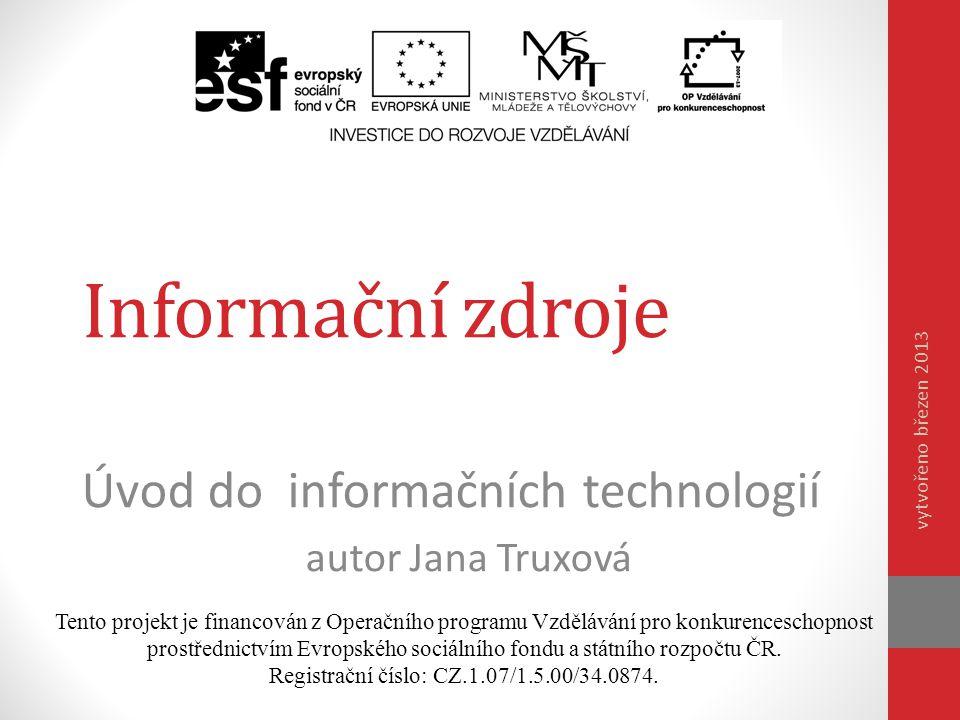 Úvod do informačních technologií autor Jana Truxová