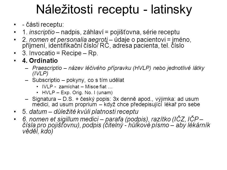 Náležitosti receptu - latinsky