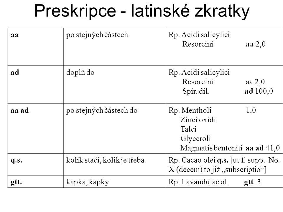 Preskripce - latinské zkratky