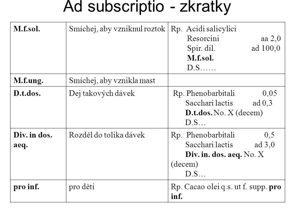 Ad subscriptio - zkratky