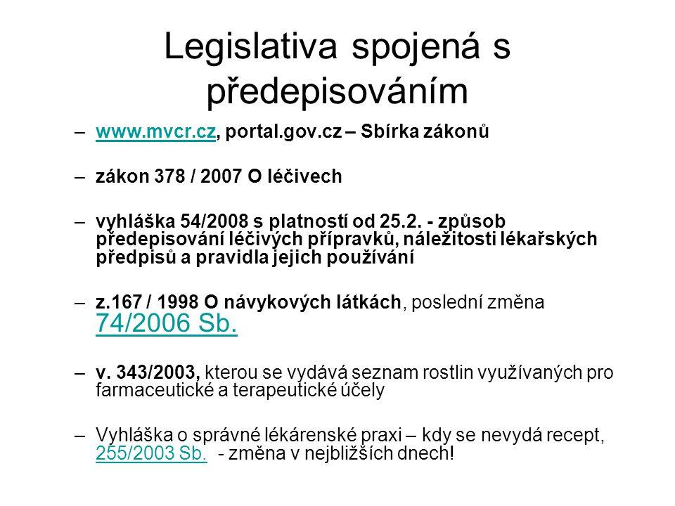 Legislativa spojená s předepisováním