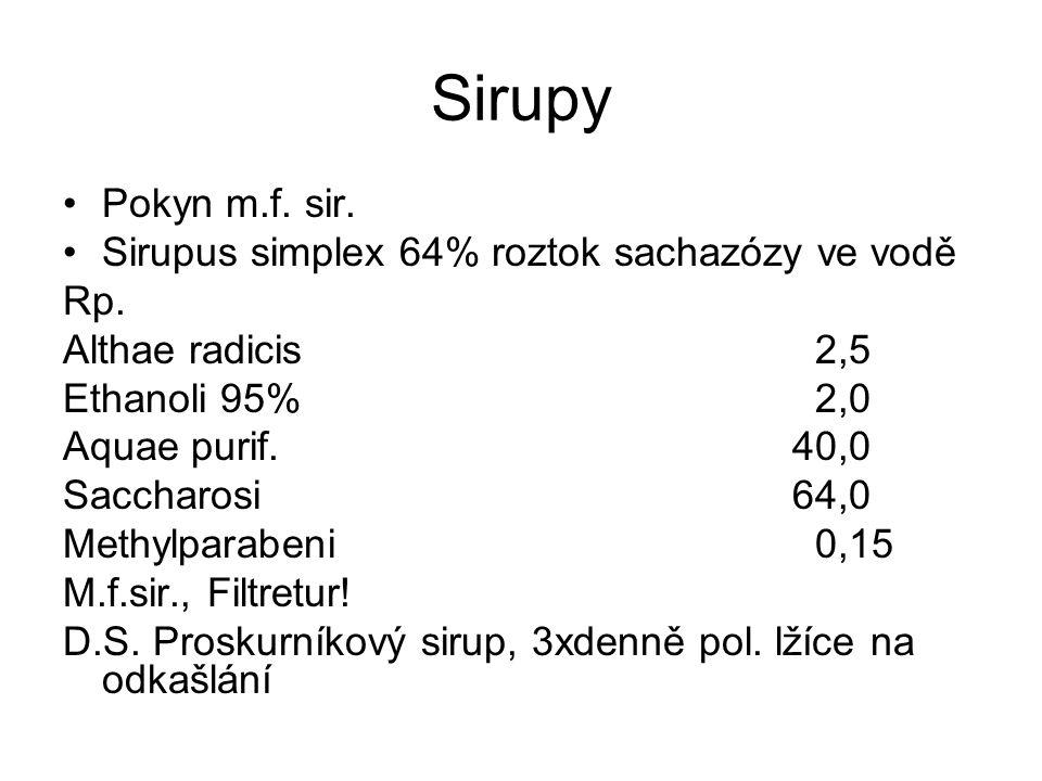 Sirupy Pokyn m.f. sir. Sirupus simplex 64% roztok sachazózy ve vodě