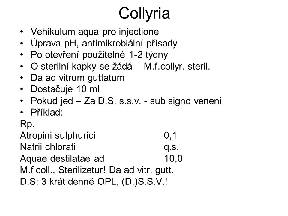 Collyria Vehikulum aqua pro injectione