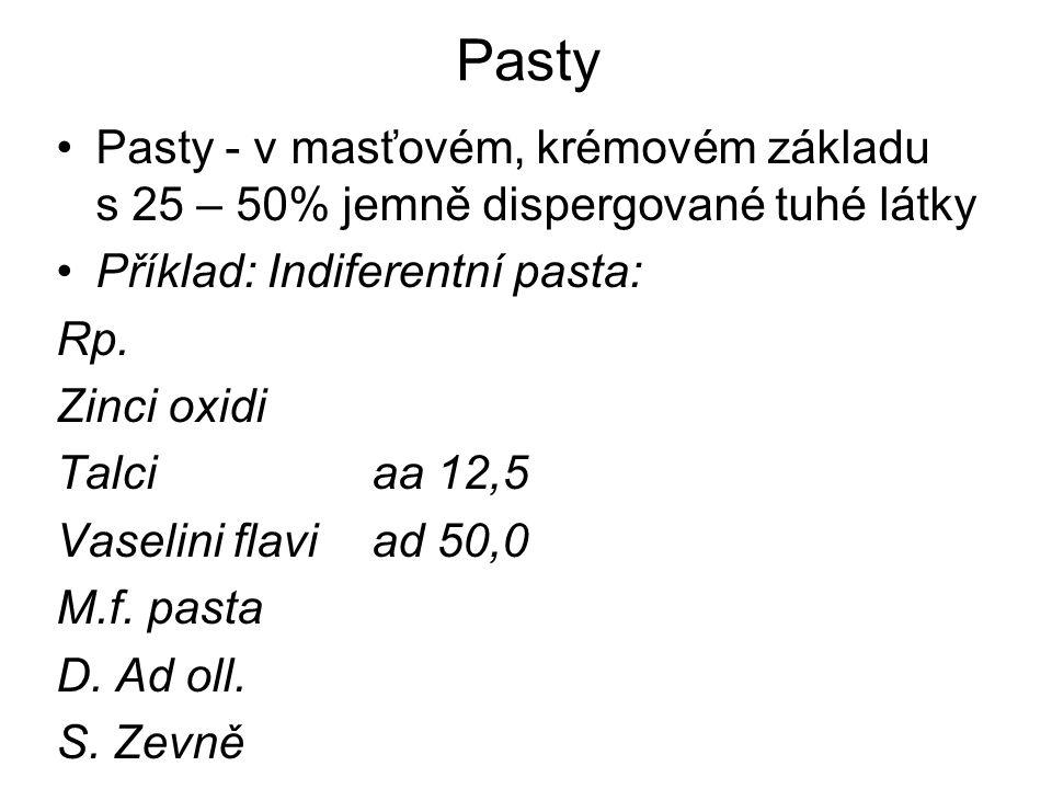 Pasty Pasty - v masťovém, krémovém základu s 25 – 50% jemně dispergované tuhé látky. Příklad: Indiferentní pasta:
