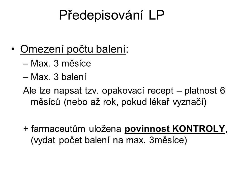 Předepisování LP Omezení počtu balení: Max. 3 měsíce Max. 3 balení