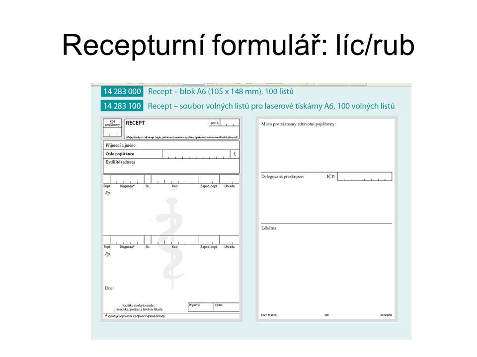 Recepturní formulář: líc/rub
