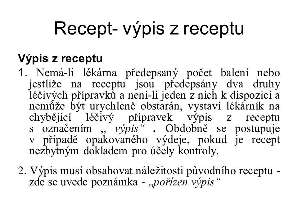 Recept- výpis z receptu