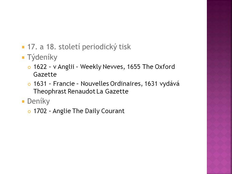 17. a 18. století periodický tisk Týdeníky