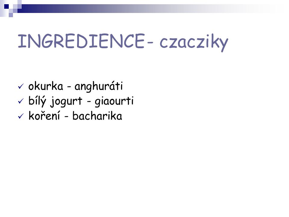 INGREDIENCE - czacziky