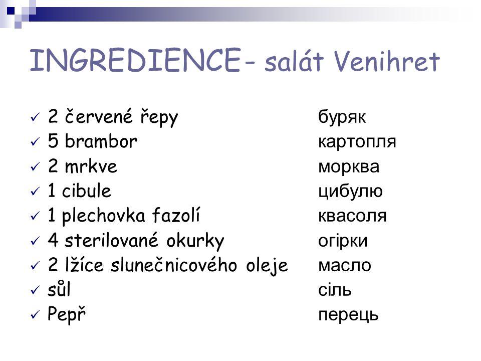 INGREDIENCE - salát Venihret