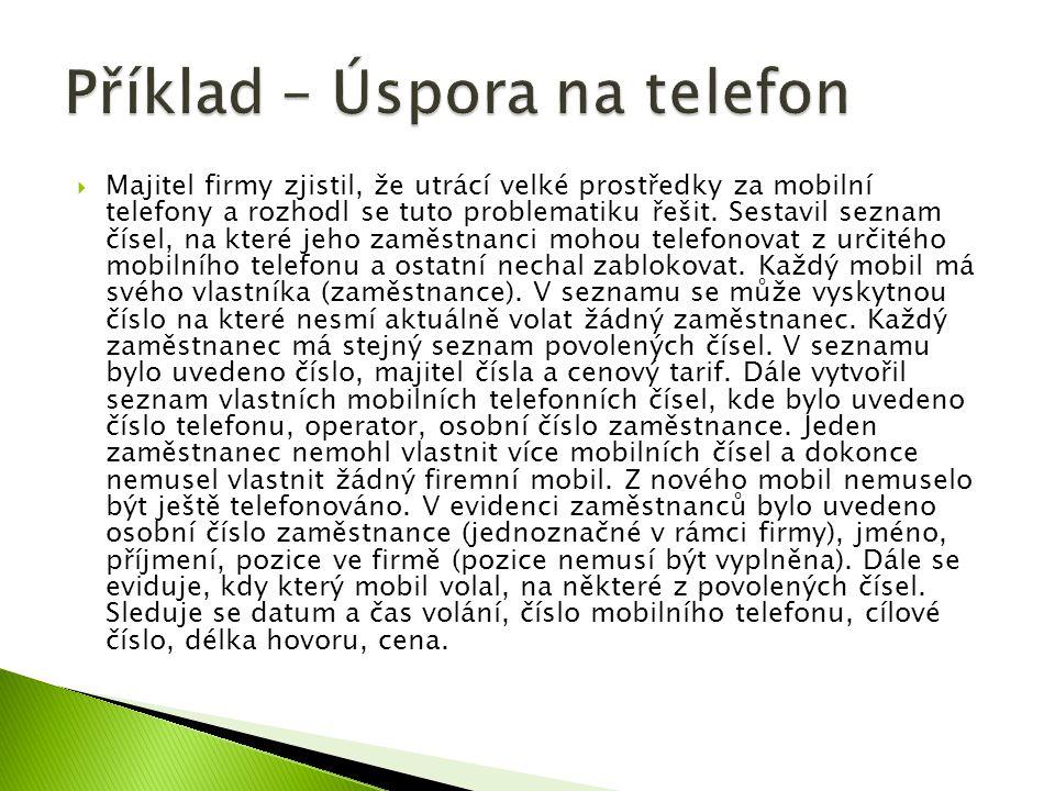 Příklad – Úspora na telefon