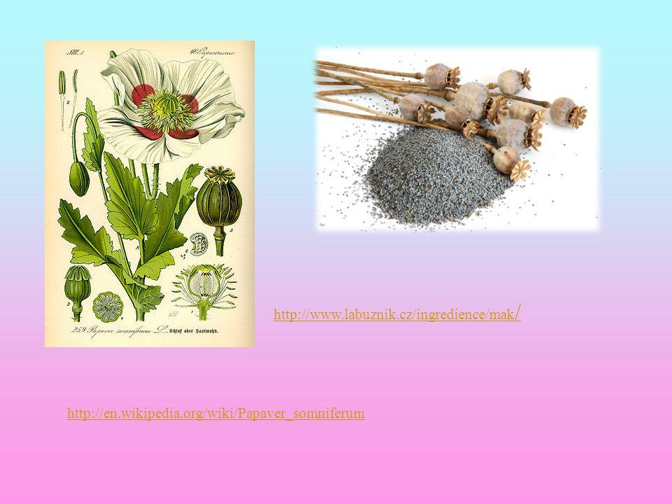 http://www.labuznik.cz/ingredience/mak/ http://en.wikipedia.org/wiki/Papaver_somniferum