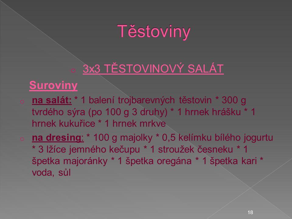 Těstoviny 3x3 TĚSTOVINOVÝ SALÁT Suroviny
