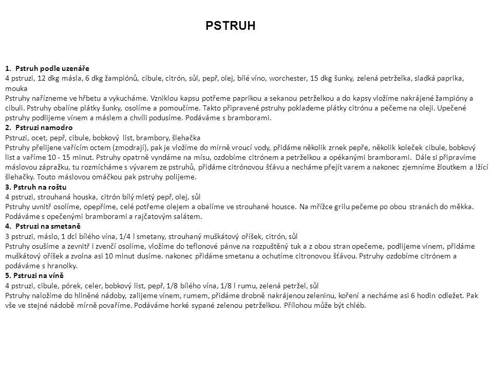 PSTRUH 1. Pstruh podle uzenáře