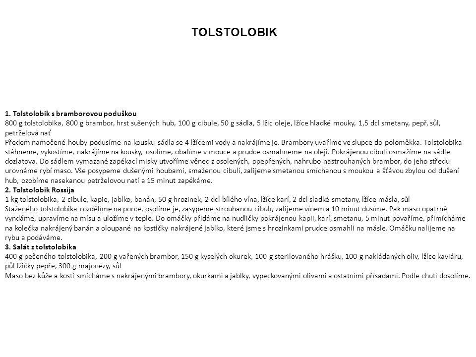 TOLSTOLOBIK 1. Tolstolobik s bramborovou poduškou