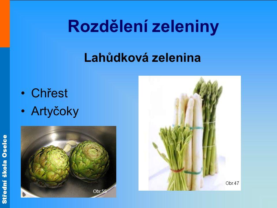 Rozdělení zeleniny Lahůdková zelenina Chřest Artyčoky Obr.47 Obr.55