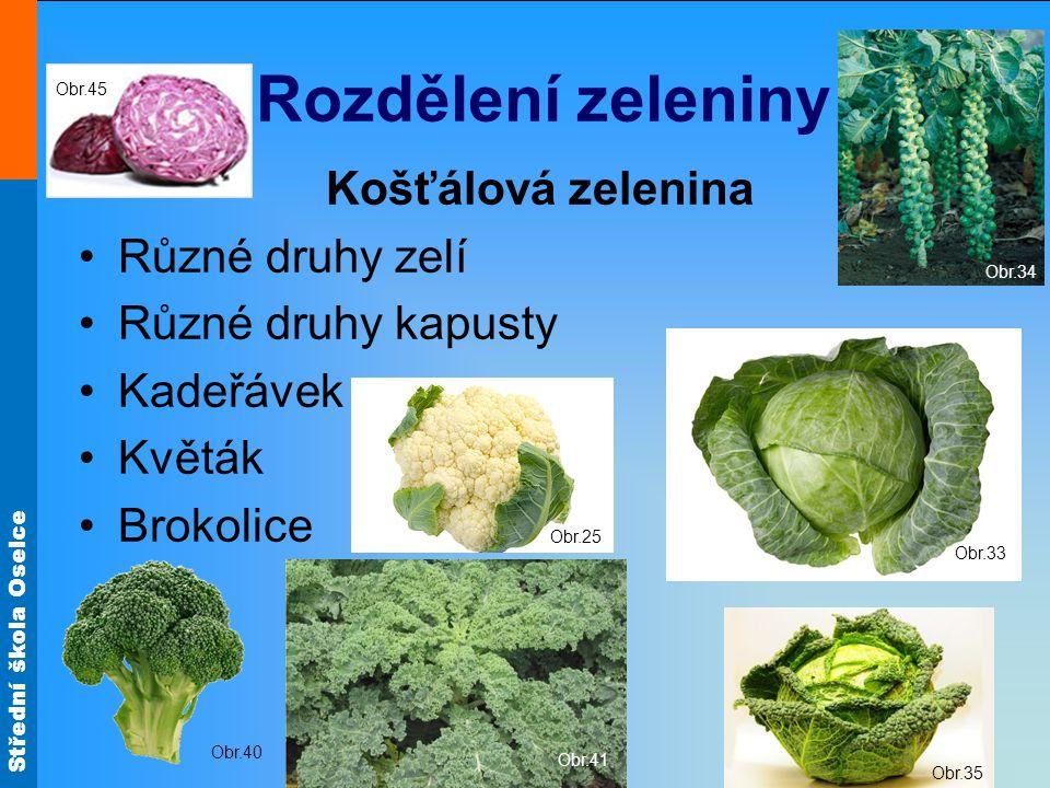 Rozdělení zeleniny Košťálová zelenina Různé druhy zelí