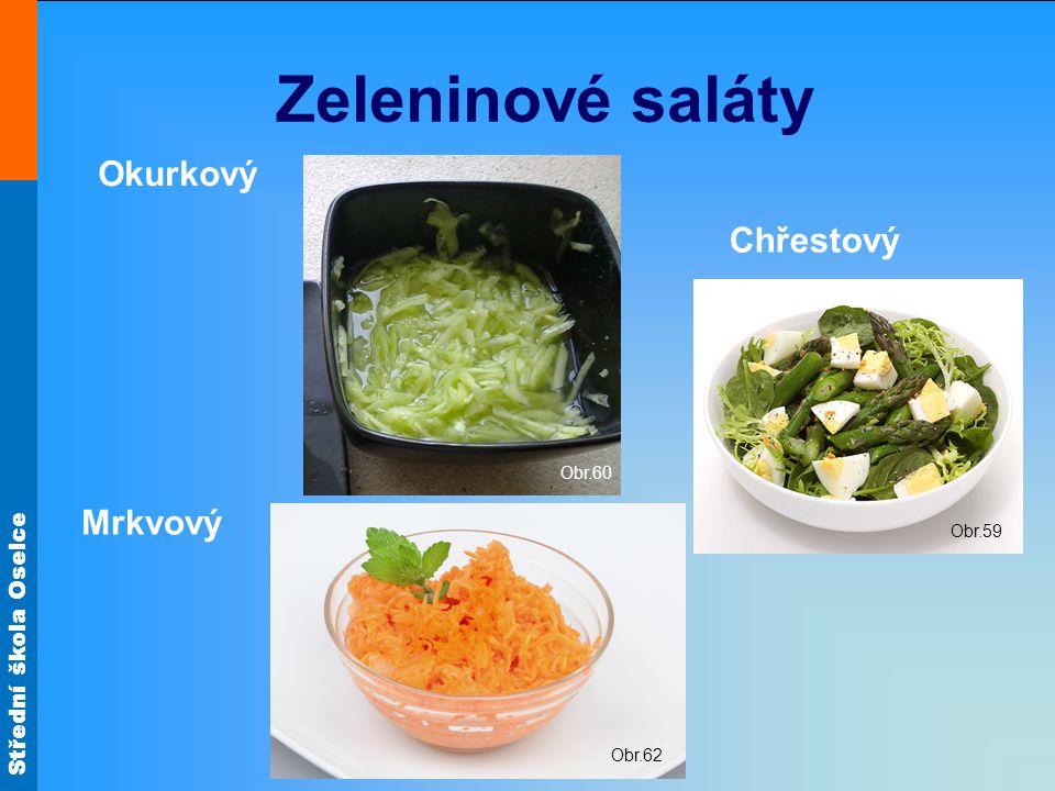 Zeleninové saláty Okurkový Obr.60 Chřestový Obr.59 Mrkvový Obr.62