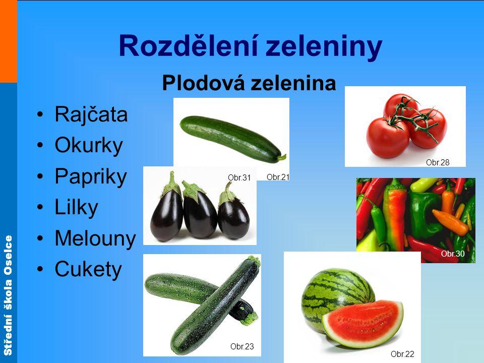 Rozdělení zeleniny Plodová zelenina Rajčata Okurky Papriky Lilky
