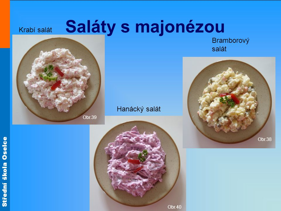 Saláty s majonézou Krabí salát Bramborový salát Hanácký salát Obr.39