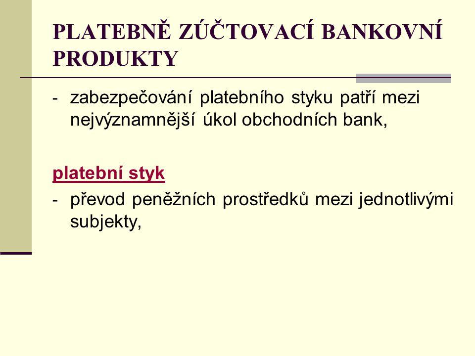 PLATEBNĚ ZÚČTOVACÍ BANKOVNÍ PRODUKTY