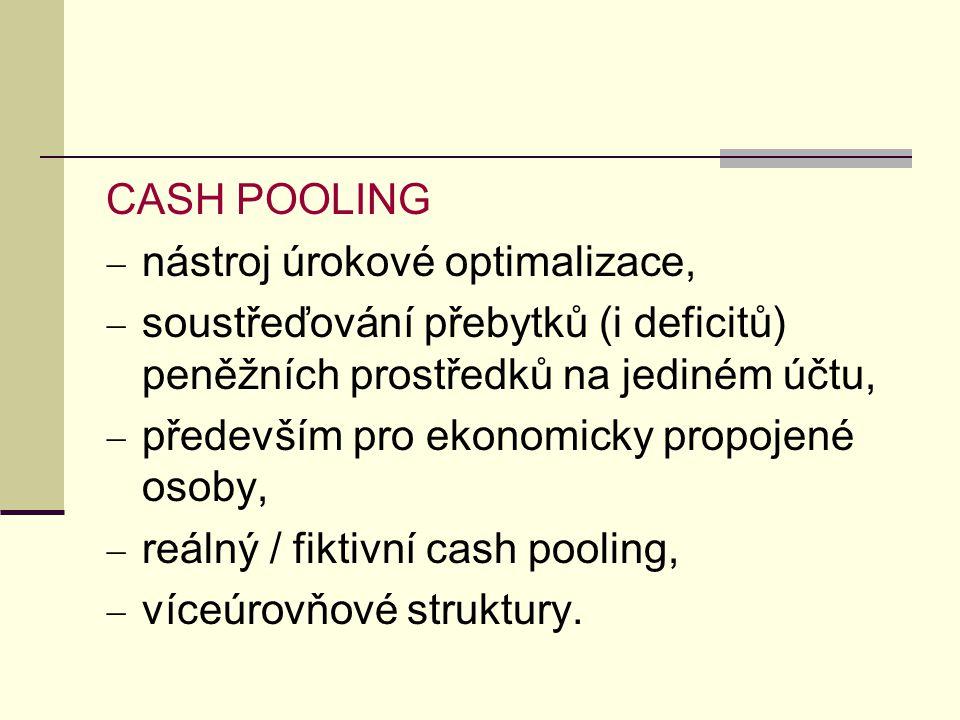 CASH POOLING nástroj úrokové optimalizace, soustřeďování přebytků (i deficitů) peněžních prostředků na jediném účtu,