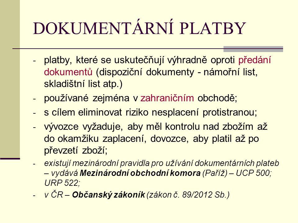 DOKUMENTÁRNÍ PLATBY platby, které se uskutečňují výhradně oproti předání dokumentů (dispoziční dokumenty - námořní list, skladištní list atp.)