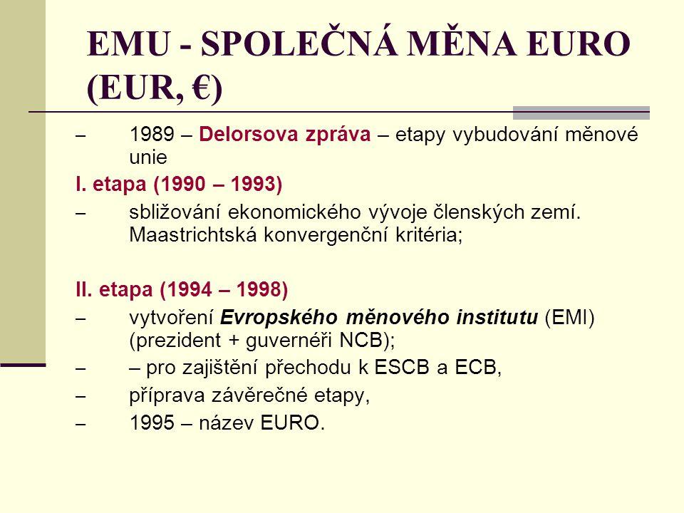 EMU - SPOLEČNÁ MĚNA EURO (EUR, €)