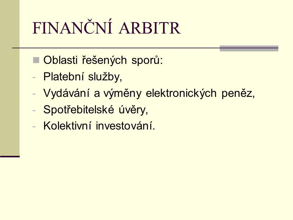 FINANČNÍ ARBITR Oblasti řešených sporů: Platební služby,