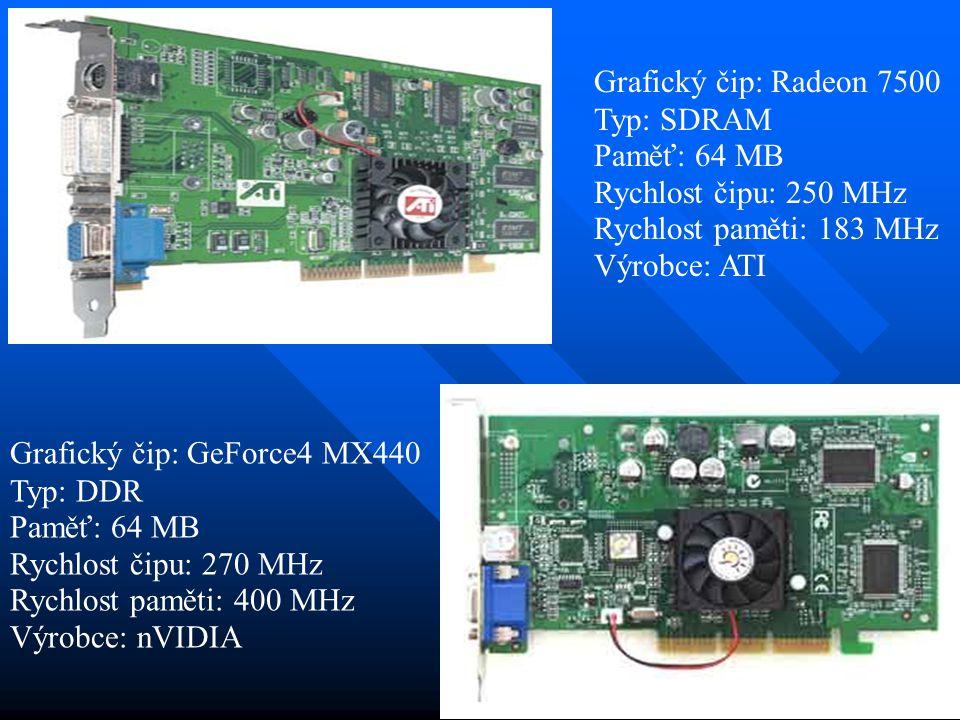 Grafický čip: Radeon 7500 Typ: SDRAM. Paměť: 64 MB. Rychlost čipu: 250 MHz. Rychlost paměti: 183 MHz.