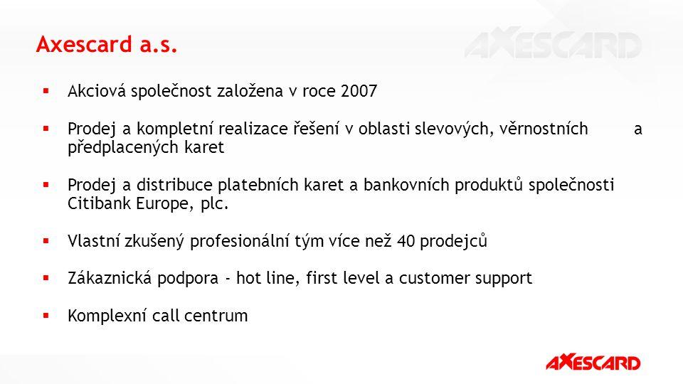 Axescard a.s. Akciová společnost založena v roce 2007