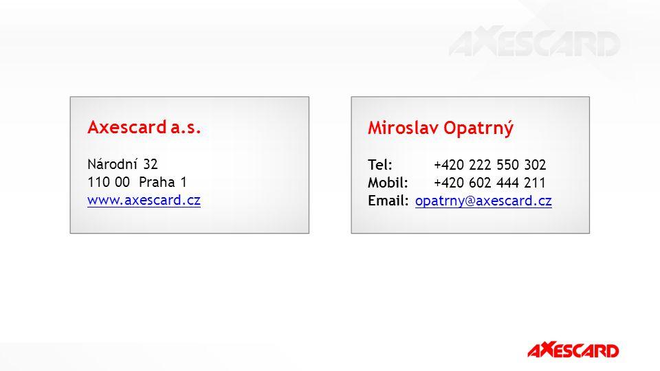 Axescard a.s. Miroslav Opatrný Národní 32 Tel: +420 222 550 302
