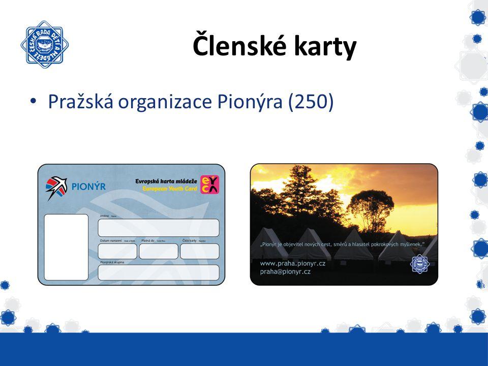 Členské karty Pražská organizace Pionýra (250) Vydáno skautských 6331
