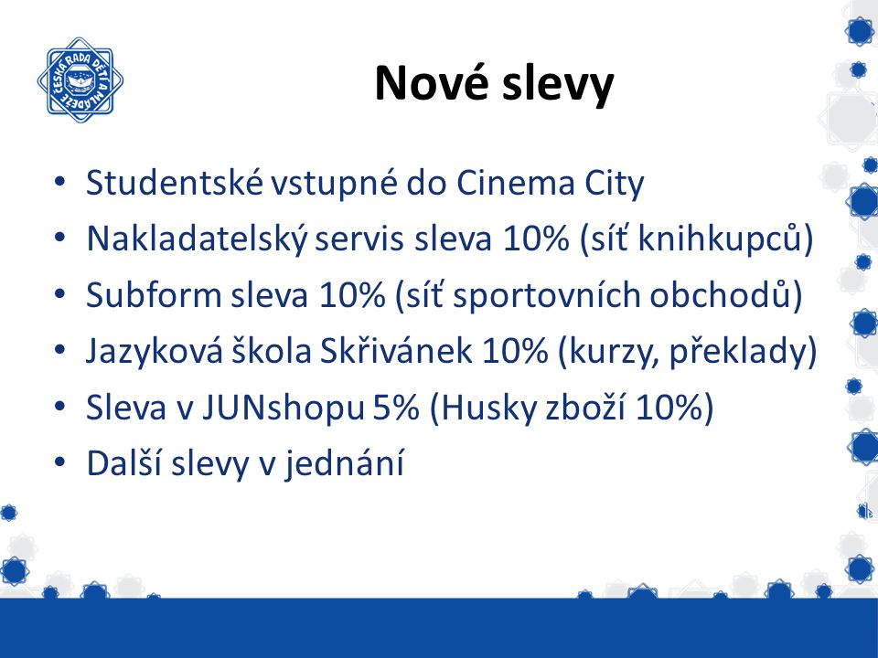 Nové slevy Studentské vstupné do Cinema City