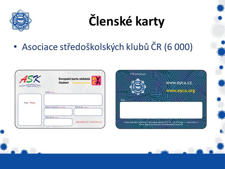 Členské karty Asociace středoškolských klubů ČR (6 000)