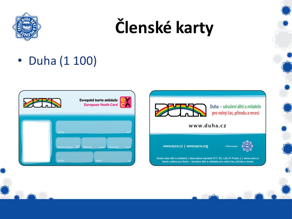 Členské karty Duha (1 100) Vydáno skautských 6331