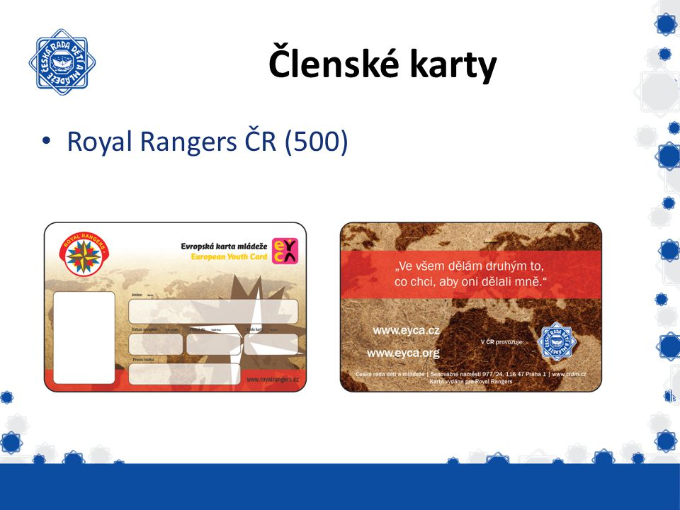 Členské karty Royal Rangers ČR (500) Vydáno skautských 6331