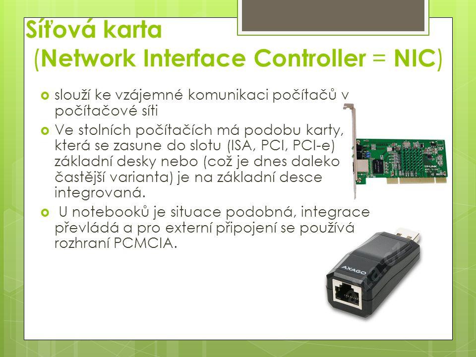 Síťová karta (Network Interface Controller = NIC)