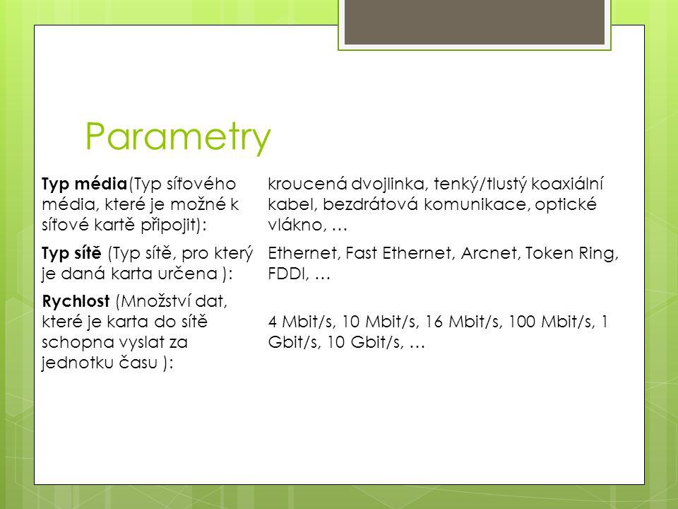 Parametry Typ média(Typ síťového média, které je možné k síťové kartě připojit):