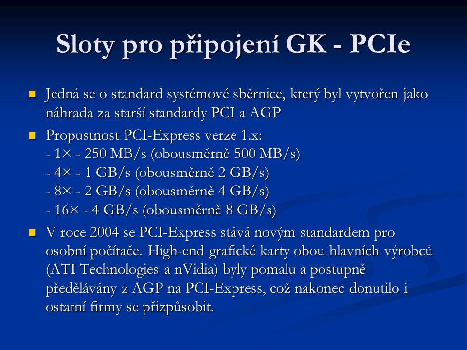 Sloty pro připojení GK - PCIe
