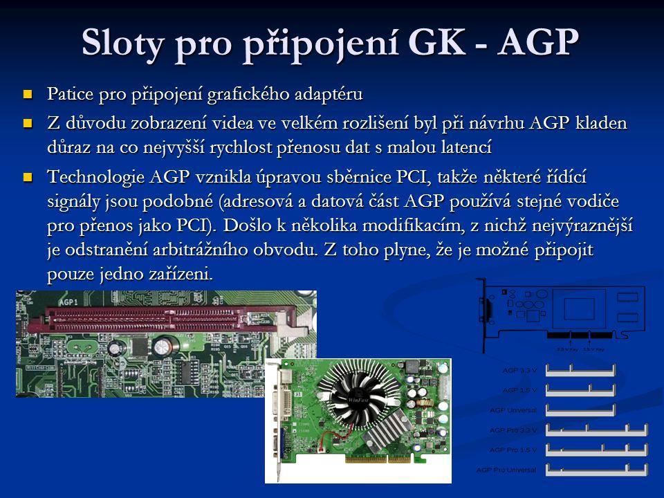 Sloty pro připojení GK - AGP