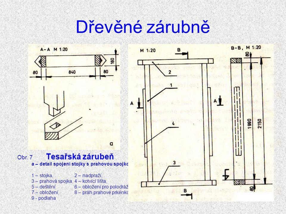 Dřevěné zárubně Obr. 7 Tesařská zárubeň
