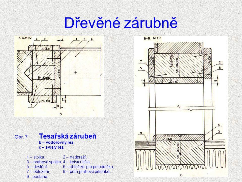 Dřevěné zárubně Obr. 7 Tesařská zárubeň b – vodorovný řez,