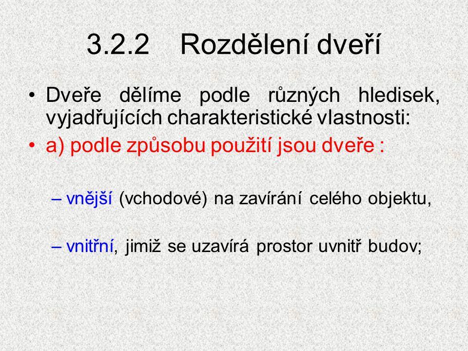 3.2.2 Rozdělení dveří Dveře dělíme podle různých hledisek, vyjadřujících charakteristické vlastnosti:
